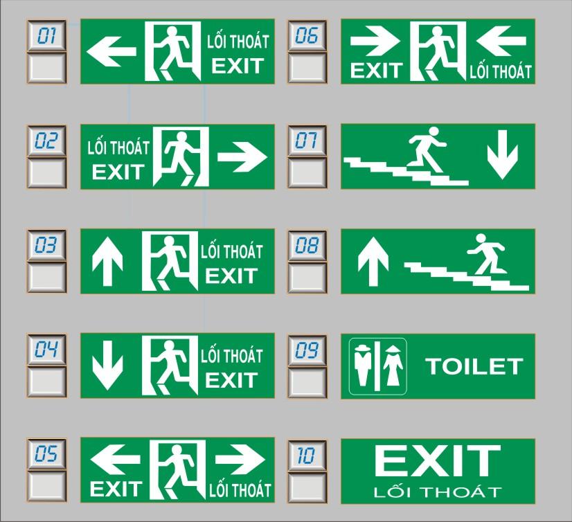 10 mẫu đèn exit lối thoát hiểm 1 mặt Kentom KT610