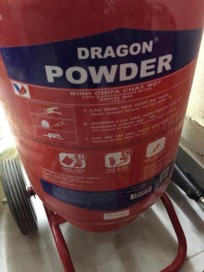 Bình chữa cháy Dragon bột khô ABC xe đẩy 35KG