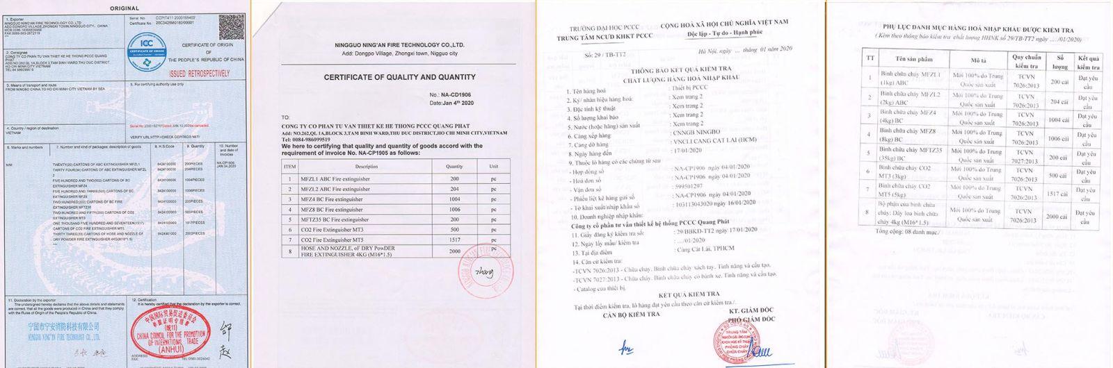 Chứng nhận xuất xứ, nhập khẩu và kiểm định của bình pccc bột BC