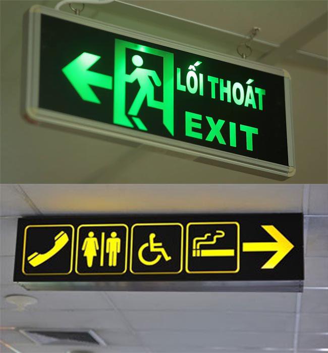 bảng exit chỉ dẫn hướng lối thoát hiểm