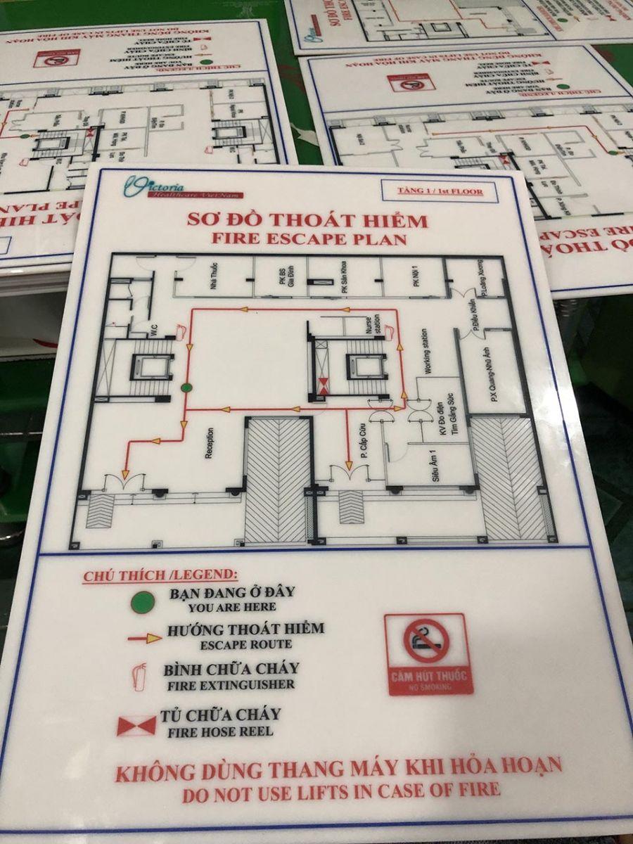 bảng mica pccc sơ đồ thoát hiểm tầng hầm