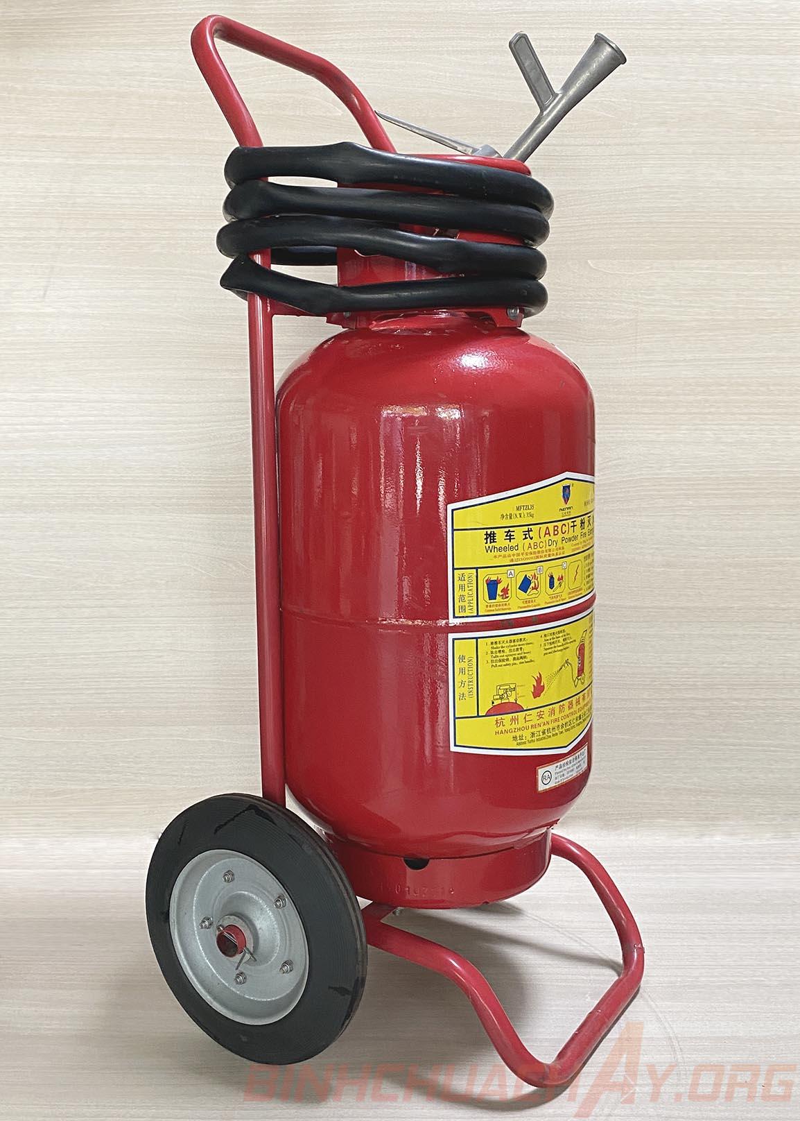 Bình chữa cháy xe đẩy loại lớn 35kg bột ABC MFTZL35