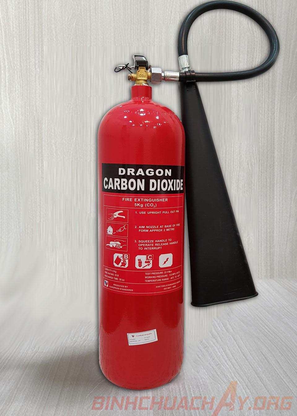 Bình chữa cháy 5KG khí lạnh CO2 Dragon Việt Nam